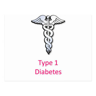 Type 1 Diabetes pink Post Cards