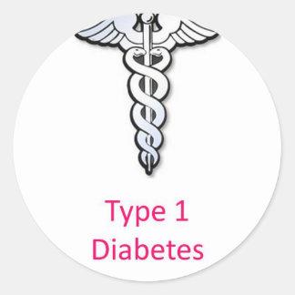 Type 1 Diabetes pink Round Sticker