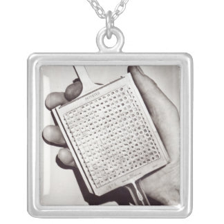 Type Blocks Silver Plated Necklace