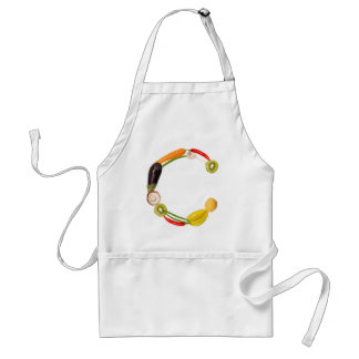 "type character ""C"" OF fruits and vegetables Aprons"