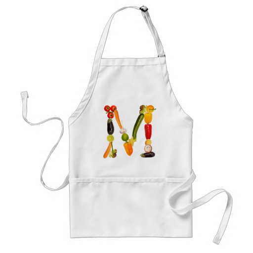 """type character """"M"""" OF fruits and vegetables Aprons"""