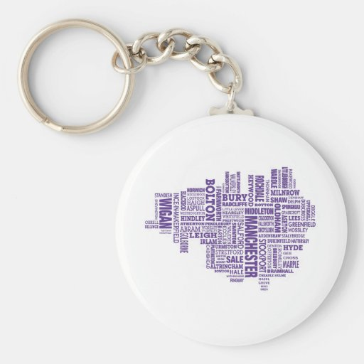 Type map of Greater Manchester Keychains
