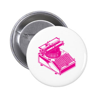 Type Writing Machine - Magenta Writer typewriter 6 Cm Round Badge