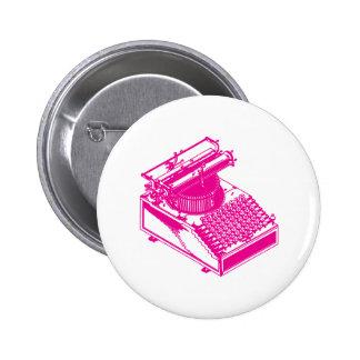 Type Writing Machine - Magenta Writer typewriter Pinback Button