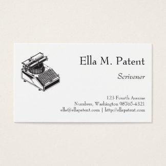 Type Writing Machine Patent Illustration Business Card