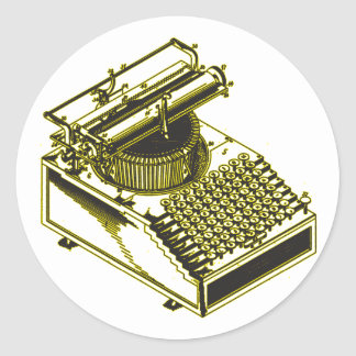 Type Writing Machine Patent Illustration Classic Round Sticker