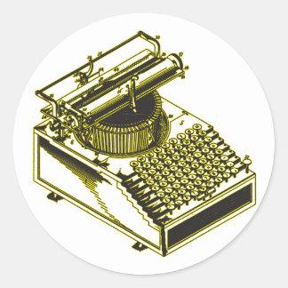 Type Writing Machine Patent Illustration Round Sticker