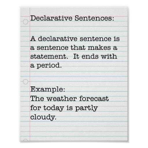 Types of Sentences:  Declarative Sentences Print