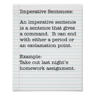Types of Sentences:  Imperative Sentences Poster