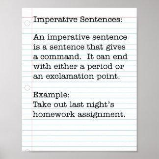 Types of Sentences:  Imperative Sentences Print