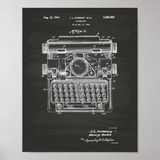 Typewriter 1941 Patent Art - Chalkboard Poster