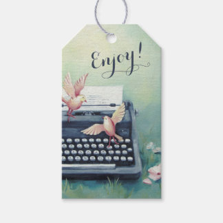 Typewriter & Birds Gift Tag