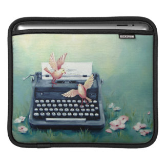 Typewriter & Birds Teal Green Ipad Sleeve