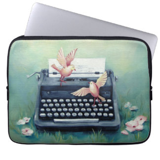 Typewriter & Birds Teal Laptop Computer Sleeve