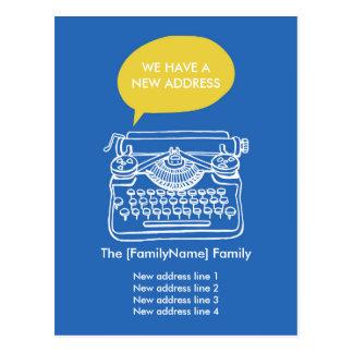 Typewriter Change of Address Cards Postcard