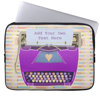 Typewriter Cute Retro Modern Personalized Text Laptop Sleeve