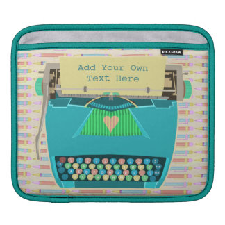 Typewriter Cute Retro Modern Personalized Text Sleeves For iPads