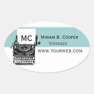 Typewriter Drawing Monogram Vintage Antique Oval Sticker