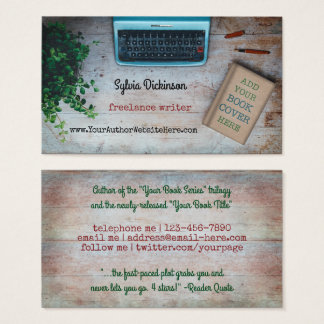 Typewriter Freelance Writer Author with Book Cover Business Card