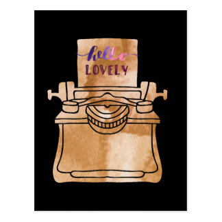 Typewriter Illustration Postcard
