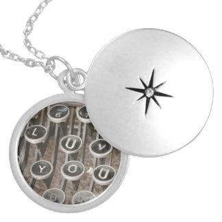 "Typewriter Keys ""I Love You"" (LUV) Round Locket Necklace"