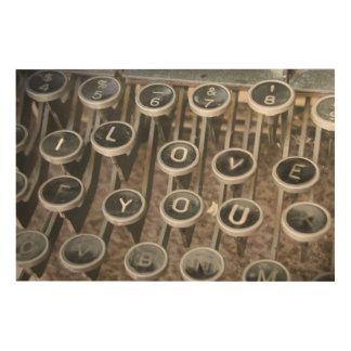"Typewriter Keys ""I Love You"" (LUV) Wood Prints"