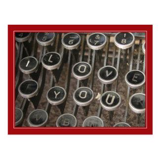 Typewriter Keys I Love You Postcards