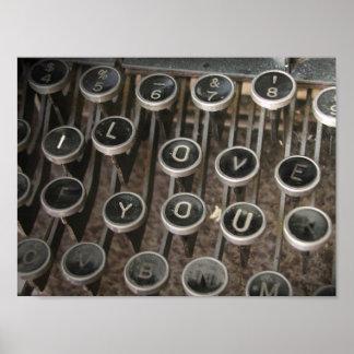 """Typewriter Keys """"I Love You"""" Print"""