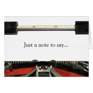 Typewriter note greeting card