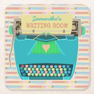 Typewriter Retro Writing Room Authors Custom Name Square Paper Coaster