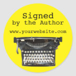 Typewriter Signed by Author Stickers Customisable