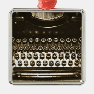 Typewriter Silver-Colored Square Decoration