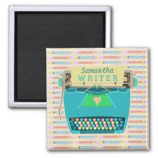 Typewriter Writer Retro Mid-Century Modern Custom Square Magnet