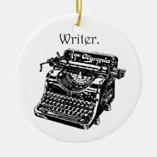 Typewriter Writer Round Ceramic Decoration