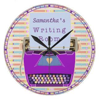 Typewriter Writing Room Personalised Author Large Clock