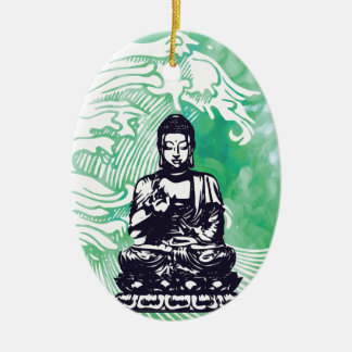 Typhoon Buddha Wave Emerald Smoke Christmas Ornament