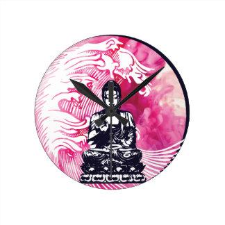 Typhoon Buddha Wave Round Clock