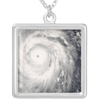 Typhoon Jangmi off Taiwan and the Philippines Silver Plated Necklace