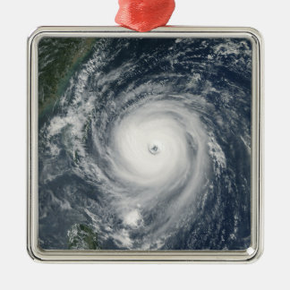 Typhoon Longwang  approaching Taiwan Silver-Colored Square Decoration