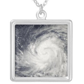 Typhoon Lupit over the western Pacific Ocean Silver Plated Necklace