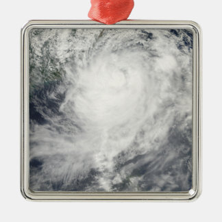 Typhoon Morakot over Taiwan Silver-Colored Square Decoration