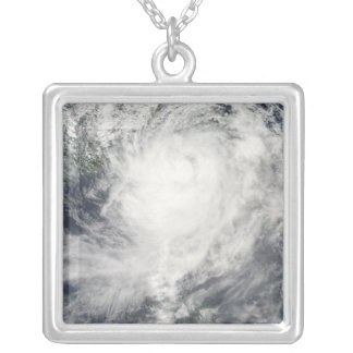 Typhoon Morakot over Taiwan Silver Plated Necklace