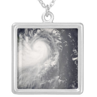 Typhoon Nuri approaching the Philippine Islands Silver Plated Necklace
