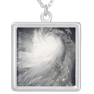 Typhoon Nuri over the Philippine Islands Silver Plated Necklace