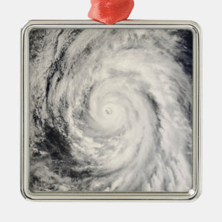 Typhoon Rammasun in the Philippine Sea Silver-Colored Square Decoration