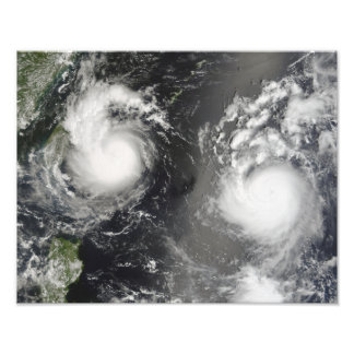Typhoon Saomai and Tropical Storm Bopha Photo Print