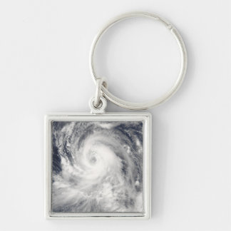Typhoon Tingting over the Northern Mariana Isla Silver-Colored Square Key Ring