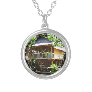 Typical Bali bungaloo Round Pendant Necklace
