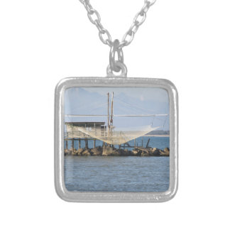 Typical italian fishing net along the river square pendant necklace