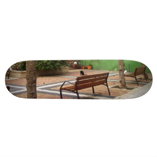 Typical place in a Spanish town Skateboard Deck